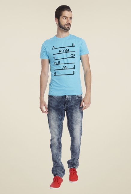 Jack & Jones Sky Blue Printed T Shirt