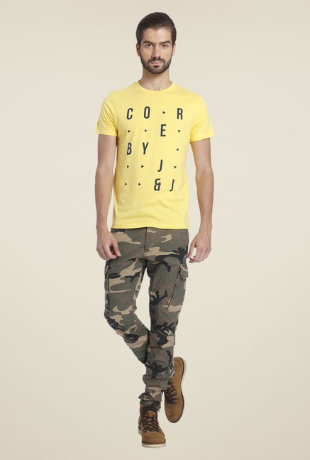 Jack & Jones Yellow Printed T Shirt