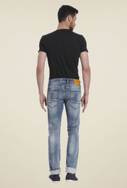 Jack & Jones Blue Heavily Washed Jeans