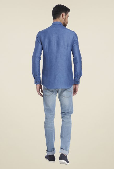 Jack & Jones Blue Self Print Linen Shirt