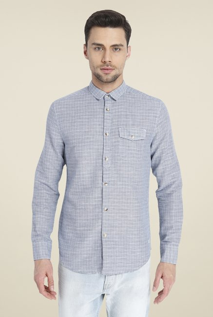 Jack & Jones Grey Checked Linen Shirt