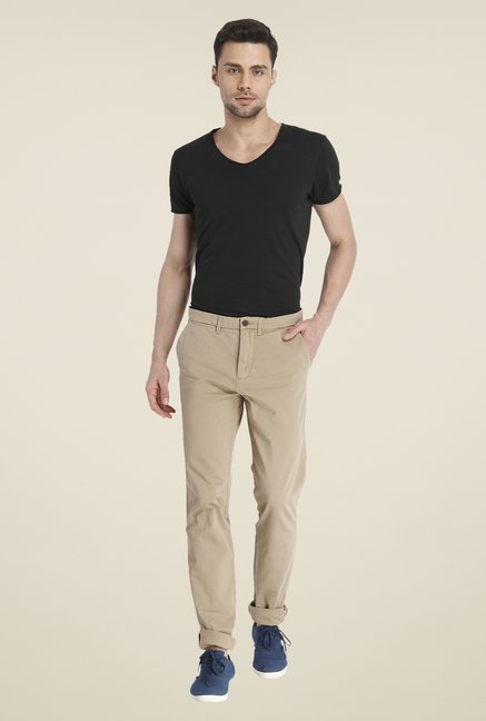 Jack & Jones Beige Solid Chinos