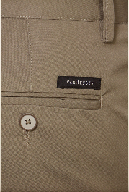 Van Heusen Khaki Solid Formal Trouser