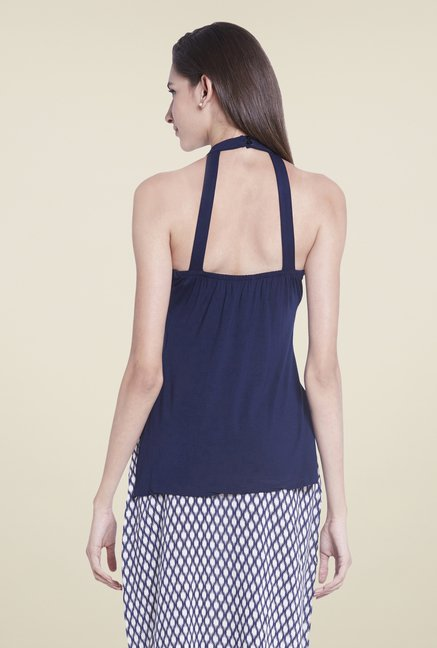 Globus Navy Solid Sleeveless Top