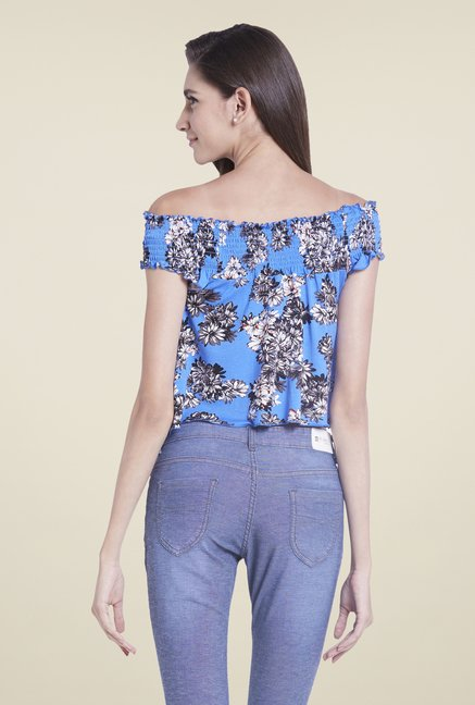 Globus Blue Floral Printed Off Shoulder Crop Top