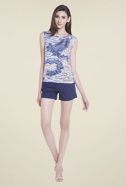 Globus White Printed Sleeveless Top