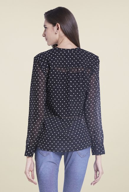 Globus Black Printed Henley Neck Top