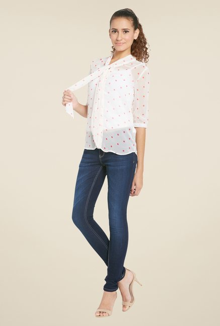 Globus Off White Printed Top