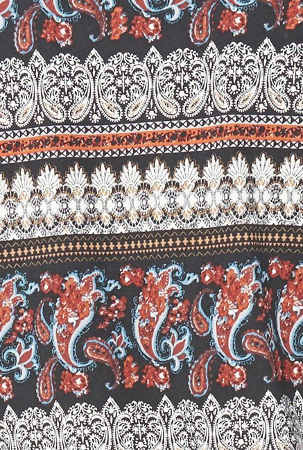 Globus Black Paisley Printed Top