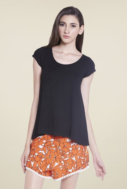 Globus Black U Neck Solid Top