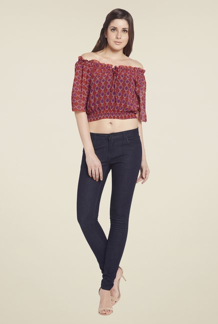 Globus Maroon Printed Crop Top