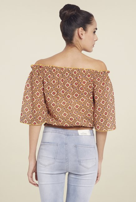 Globus Yellow Printed Crop Top