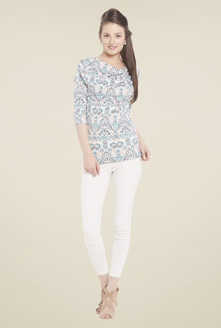 Globus Off White Printed Cowl Neck Top