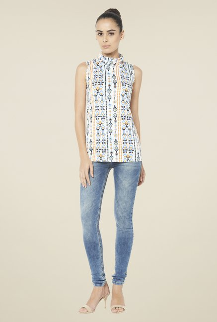 Globus White Sleeveless Printed Top