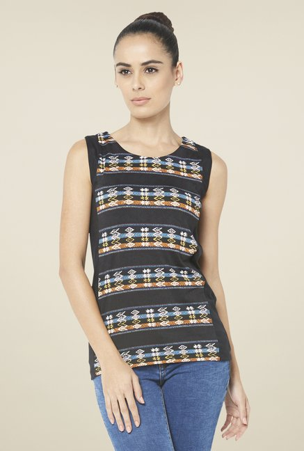 Globus Black Round Neck Sleeveless Top