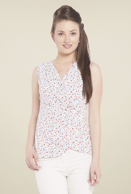 Globus Off White Printed Sleeveless Top