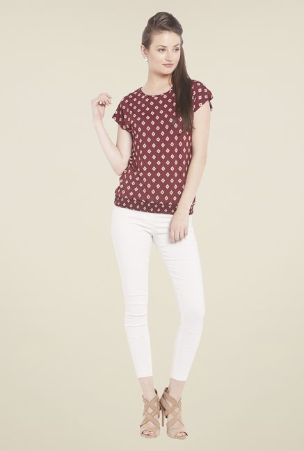 Globus Maroon Printed Round Neck Top
