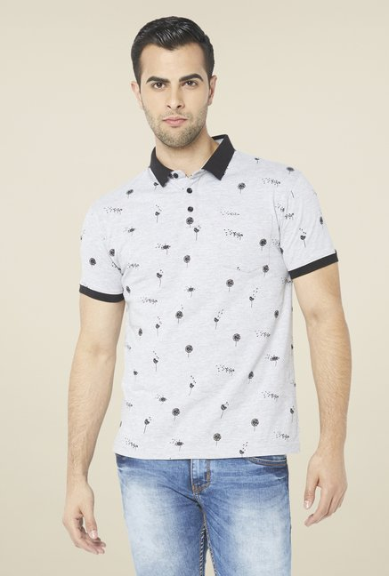 Globus Grey Printed Polo T Shirt
