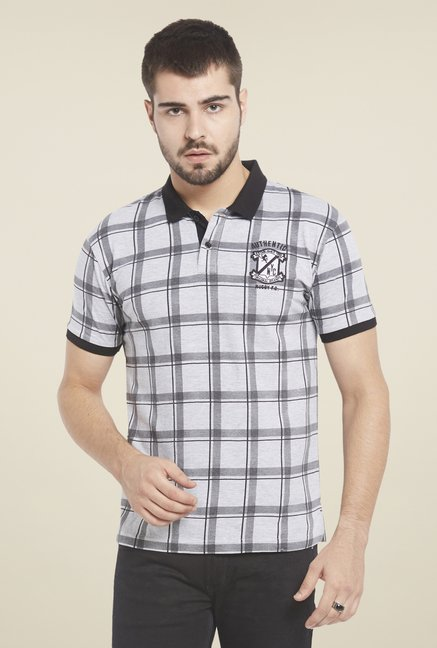 Globus Grey Checks Polo T Shirt