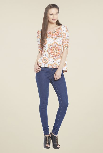 Globus White & Orange Floral Print Top
