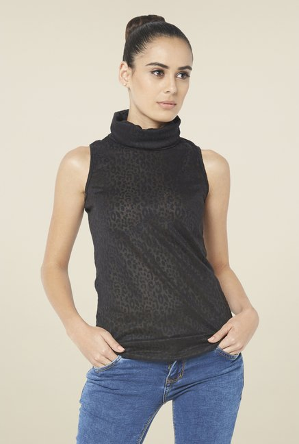 Globus Black Sleeveless Turtle Neck Top