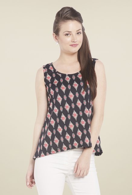 Globus Black Printed Sleeveless Top