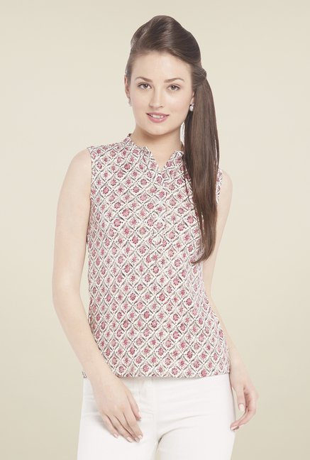 Globus Pink Printed Sleeveless Top