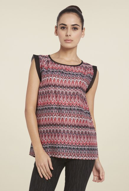 Globus Multicolor Printed Round Neck Sleeveless Top