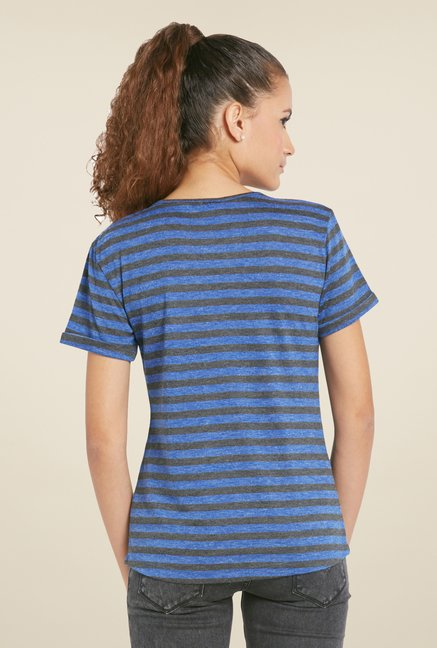 Globus Blue Striped Short Sleeve Top