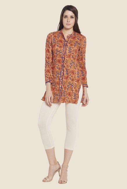 Globus Orange Floral Print Top