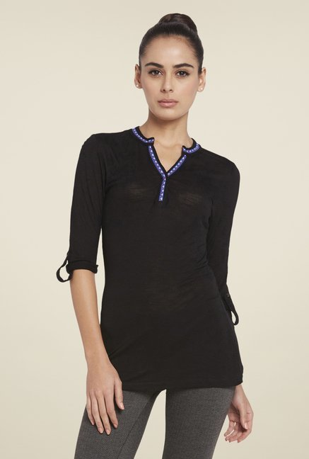 Globus Black Solid Viscose Top