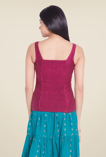 Globus Pink Solid Sleeveless Top