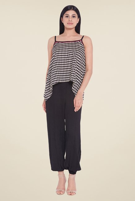 Globus Black Cotton Geometric Top