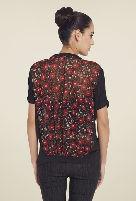 Globus Red & Black Floral Print Top