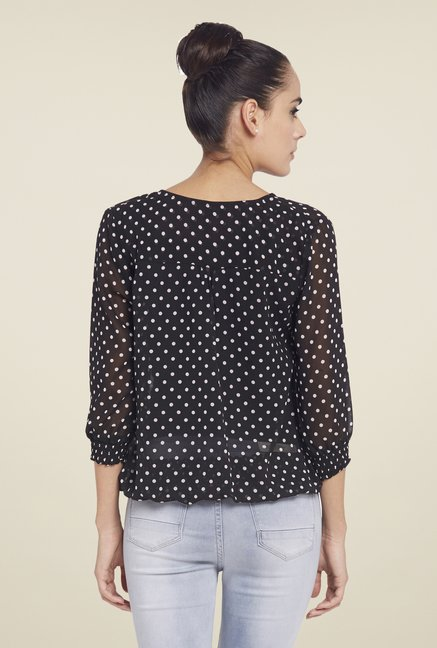 Globus Black Polka Dot Sheer Top