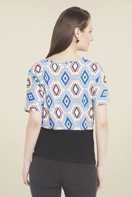 Globus Off White Printed V Neck Top