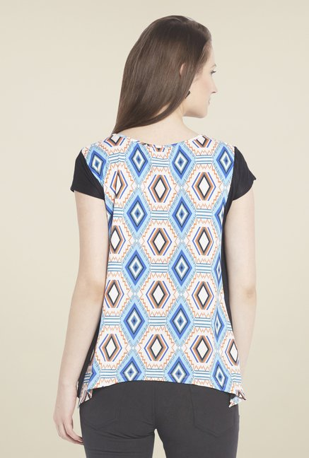 Globus White Short Sleeve Printed Top