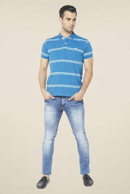 Globus Blue Striped Polo T Shirt