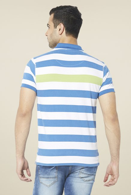 Globus Blue & White Striped Polo T Shirt