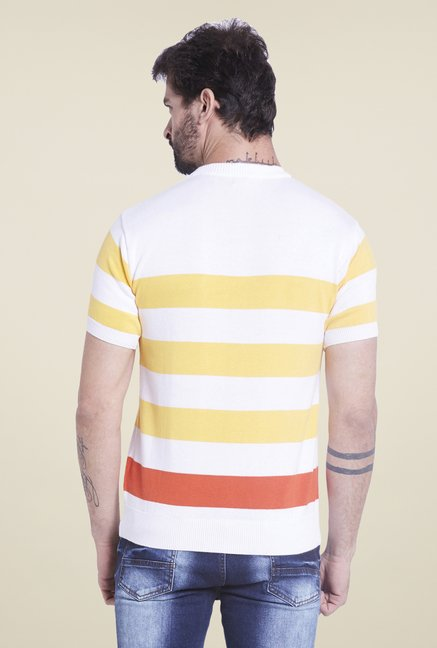 Globus White & Yellow Striped T Shirt