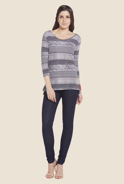 Globus Navy Striped Boat Neck Top