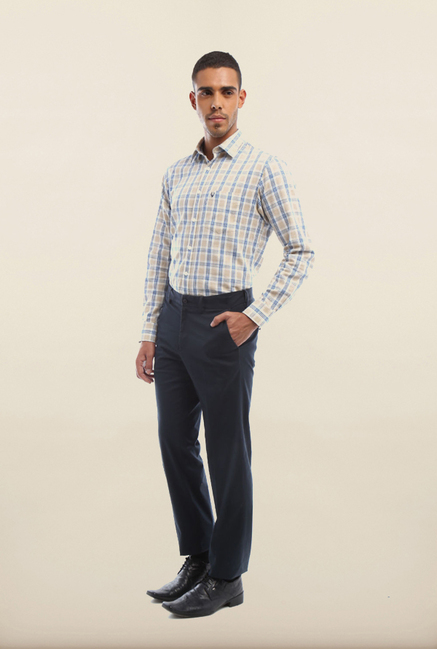 Van Heusen Blue Solid Formal Trouser