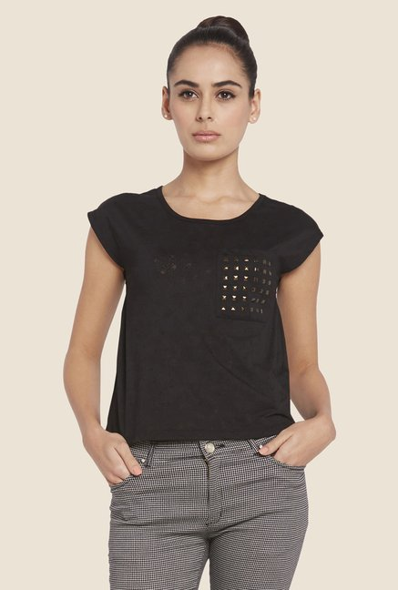 Globus Black Solid Studded Top