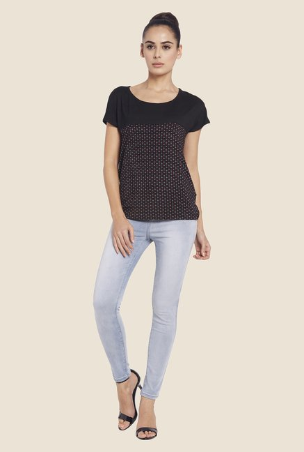 Globus Black Printed Short Sleeve Top