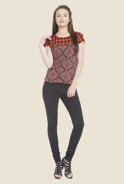 Globus Orange & Black Printed Top