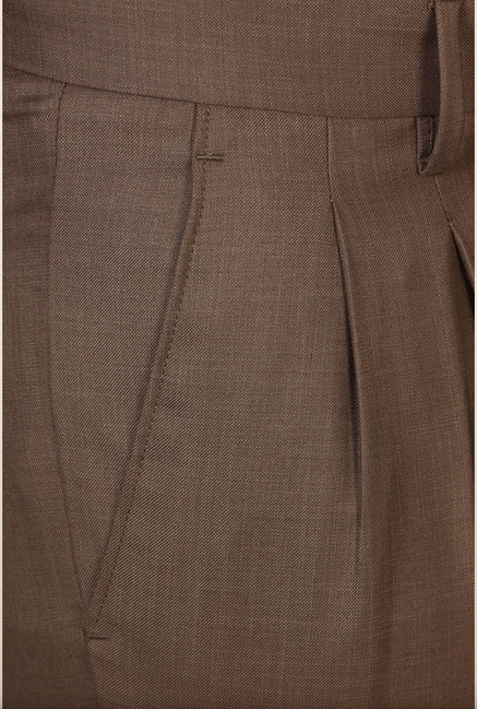 Peter England Brown Solid Formal Trouser
