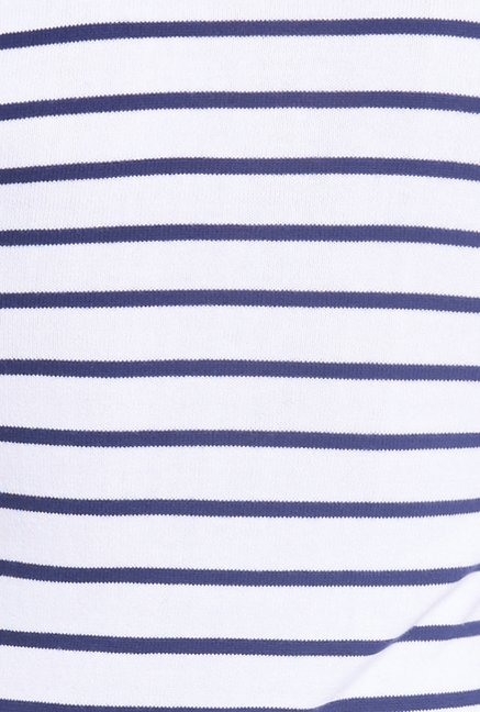 Globus White Striped Polo T Shirt