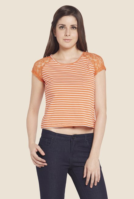 Globus Orange Striped Cap Sleeve Top
