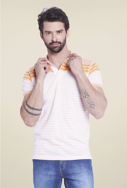 Globus White & Orange Striped Polo T Shirt
