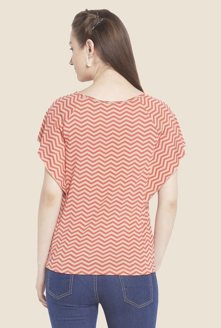 Globus Orange Chevron Print Top
